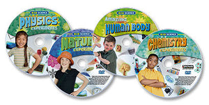 4 DVD Kid Science Experiments set (Physics /Nature /Amazing Human Body /Chemistry)