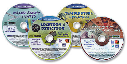 "4 CD-ROM ""Let's Learn About"" Set (Meas. & Units /Loc. & Direction /Temp. & Weather /Money & Econ.)"