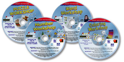 4 CD-ROM Print Activities set (Number Workshop /Word Workshop /Puzzle Workshop /Coloring Workshop)