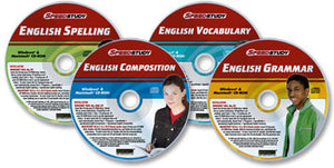 4 CD-ROM Speedstudy English set (Grammar /Composition /Vocabulary /Spelling)
