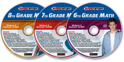 3 CD-ROM Middle-School Math set (Speedstudy 6th, 7th, & 8th Grade Math)