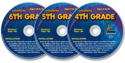 3 CD-ROM Schooltown Set — 4th, 5th and 6th Grade