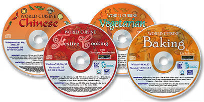 World Cuisine 4 CD-ROM Set (Chinese /Festive Cooking /Vegetarian Cooking /Baking)