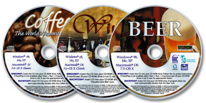 3 CD-ROMs (Wine /Coffee /Beer)