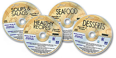 4 CD-ROM Just Cooking Set (Desserts /Healthy Recipes /Soups and Salads /Seafood)