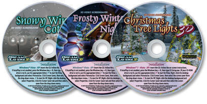 3 Disc Set (Snowy Winter Cottage 3D / Christmas Tree Lights 3D / Frosty Winter Night 3D) Screensavers