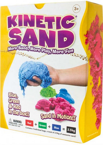 Kinetic Sand Colour - 2.5kg Bundle. Red, Blue, Green