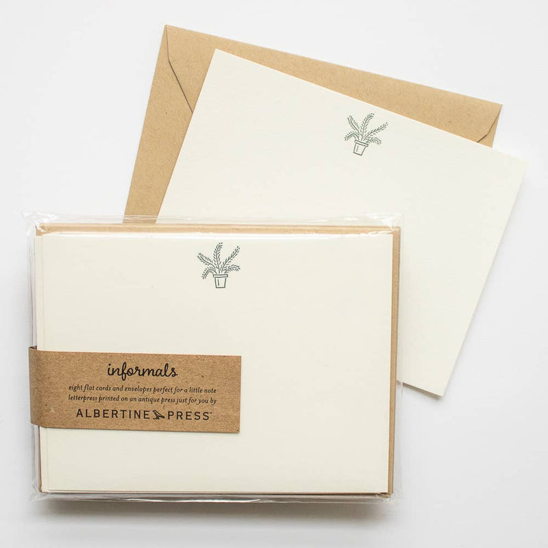 The Informals - a take on the traditional flat notecard.  Each set of eight letterpress cards and envelopes comes packaged in a biodegradable cello sleeve.