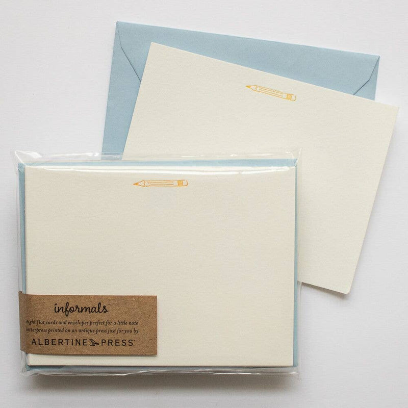 "The Informals - a take on the traditional flat notecard.  Each set of eight letterpress cards and envelopes comes packaged in a biodegradable cello sleeve.  Dimension : 5.5 x 4.25""."