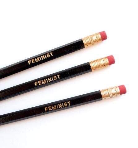 "Black pencil with gold ""Feminist"" lettering. Come in pack of 6 unsharpened pencils."
