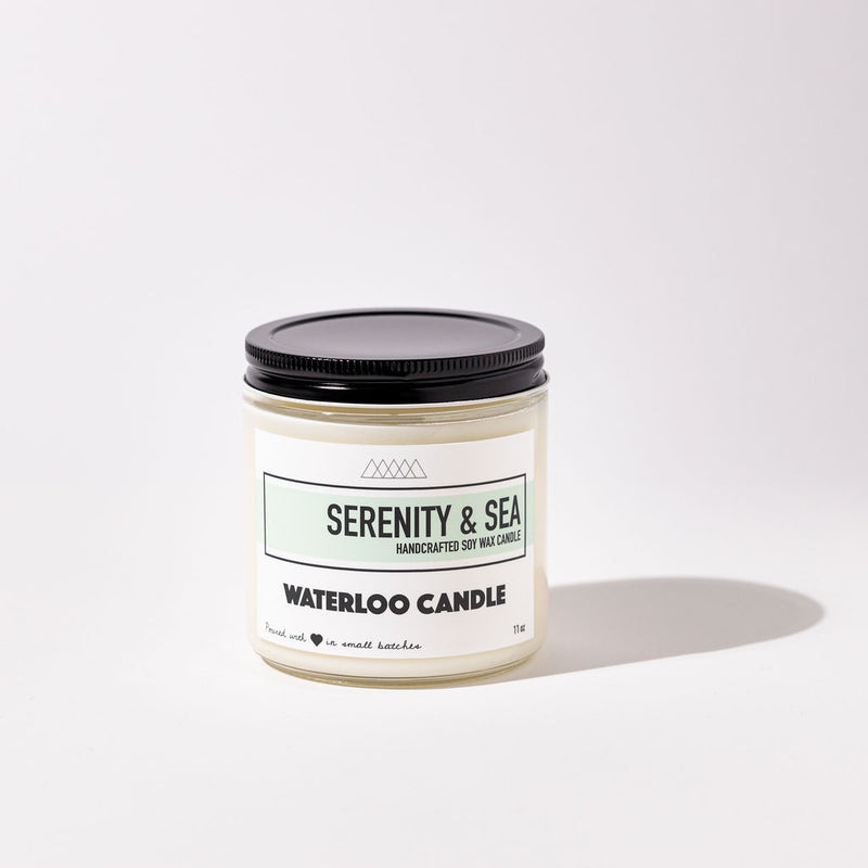 Serenity & Sea scented soy candle. This candle is an elegant blend of soft floral notes with salty highlights. Natural, hand poured soy wax candle that is dye free, phthalate free, and poured in small batches.