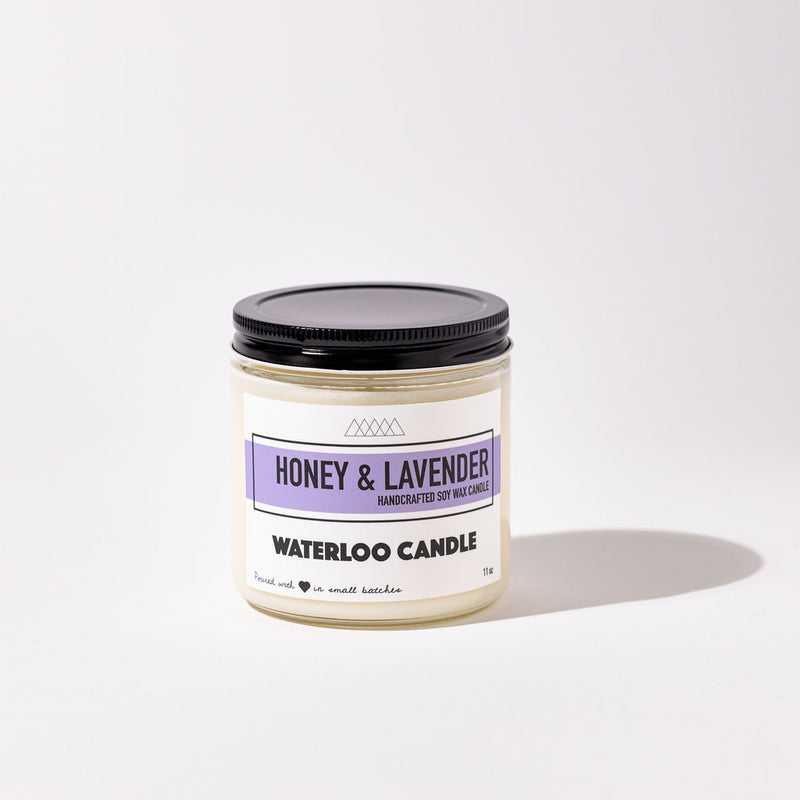 Honey & Lavender scented soy candle. Smells like a freshly picked bushels of lavender with added notes of bergamot, lemon, balanced with sweet notes of honey. Hand poured, vegan soy wax candle.