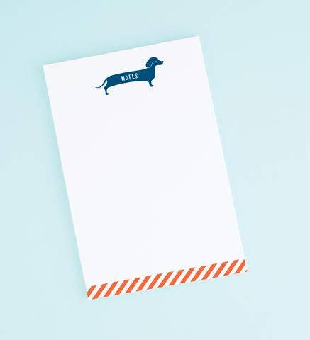 dachshund note pad. 50 tear-off sheet notepad with blue dachshund on top.