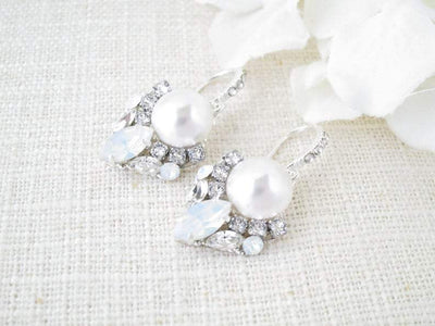 VENICE:  Pearl Art Deco Dangle Earrings - BlingBaddaBoom - Minimalist, Vintage, Modern Wedding and Bridal Jewelry