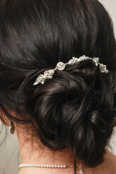 EMMA:  Swarovski Crystal and Pearl Hairpiece - BlingBaddaBoom - Minimalist, Vintage, Modern Wedding and Bridal Jewelry