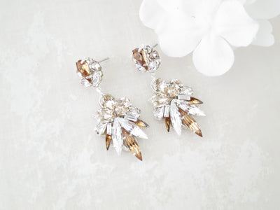 AMBER:  Champagne Statement Earrings - BlingBaddaBoom - Minimalist, Vintage, Modern Wedding and Bridal Jewelry