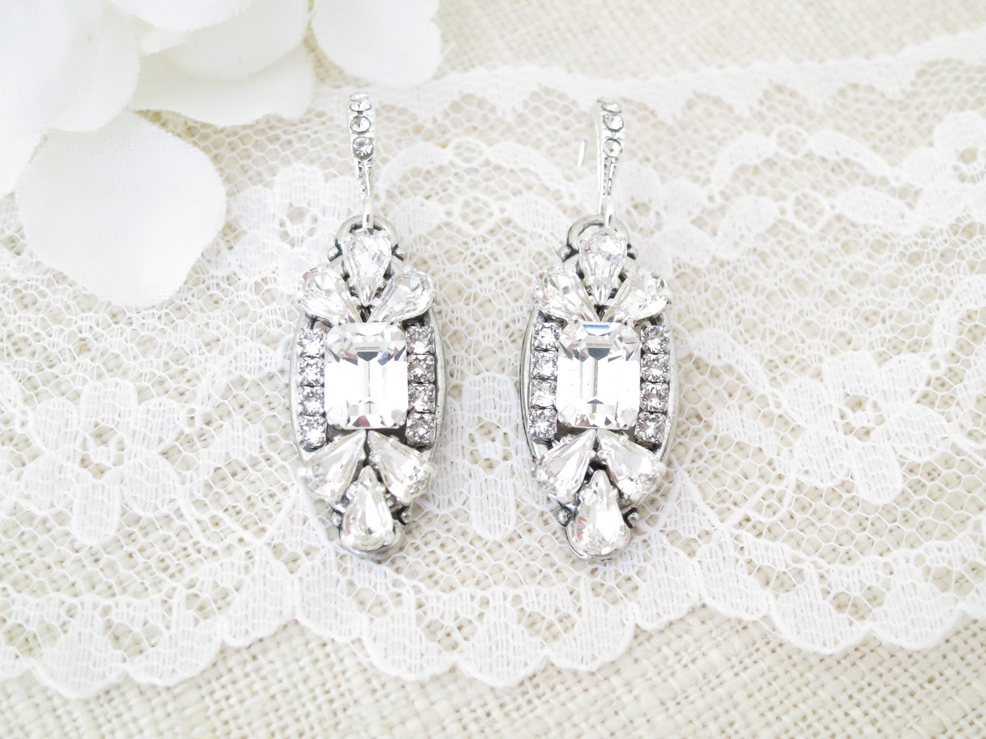 EVE:  Silver Art Deco Bridal Earrings - BlingBaddaBoom - Minimalist, Vintage, Modern Wedding and Bridal Jewelry