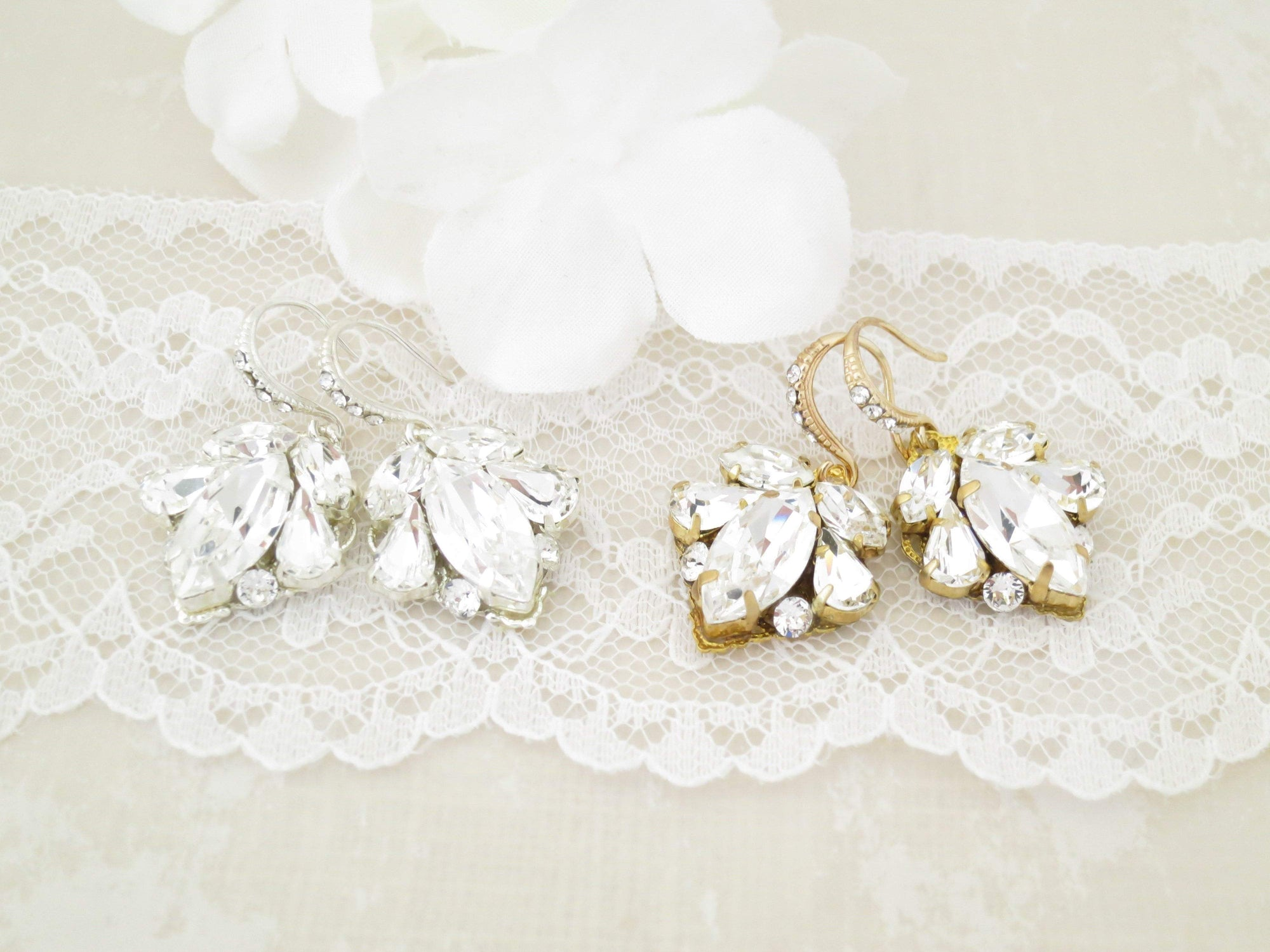 ELLE:  Crystal Marquise Bridal Earrings - BlingBaddaBoom - Minimalist, Vintage, Modern Wedding and Bridal Jewelry