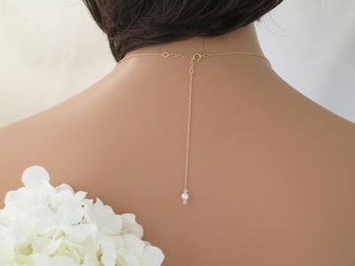 FALON:  White Opal Backdrop Necklace - BlingBaddaBoom - Minimalist, Vintage, Modern Wedding and Bridal Jewelry