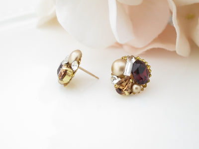 BRANDY:  Petite Burgundy Button Earrings - BlingBaddaBoom - Minimalist, Vintage, Modern Wedding and Bridal Jewelry