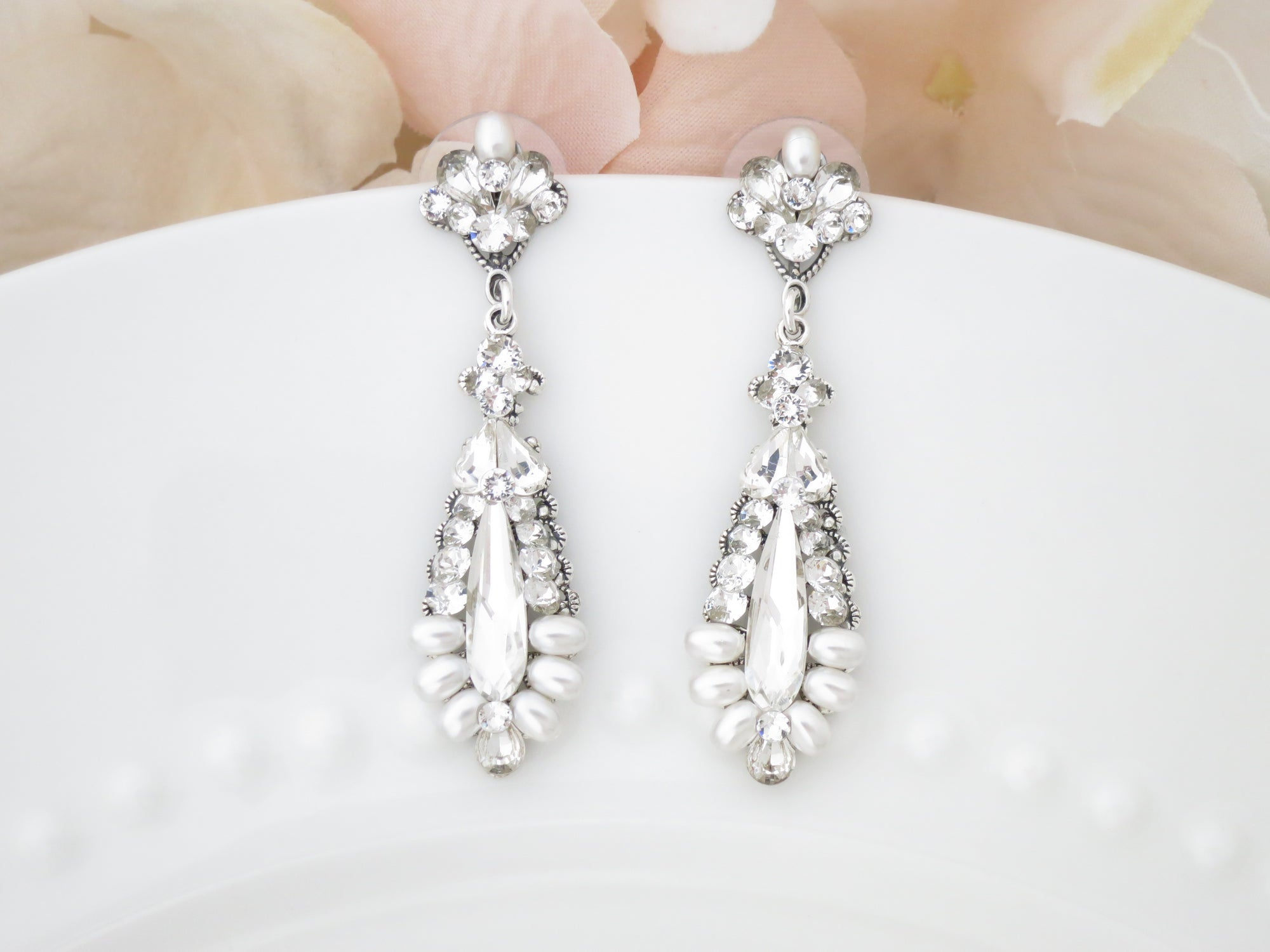 SLOANE:  Crystal Raindrop Bridal Earrings - BlingBaddaBoom - Minimalist, Vintage, Modern Wedding and Bridal Jewelry