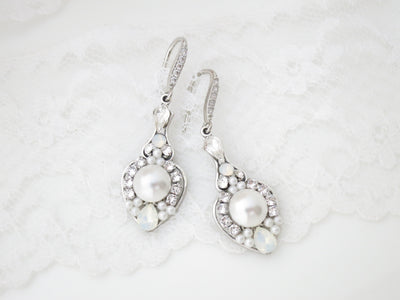 CHARLOTTE:  Romantic Pearl and Crystal Bridal Earrings - BlingBaddaBoom - Minimalist, Vintage, Modern Wedding and Bridal Jewelry