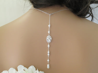 CHLOE:  Vintage Style Backdrop Necklace - BlingBaddaBoom - Minimalist, Vintage, Modern Wedding and Bridal Jewelry