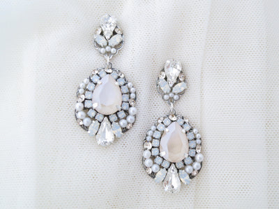 ANGELIQUE:  Ivory and Opal Swarovski Chandelier Earrings - BlingBaddaBoom - Minimalist, Vintage, Modern Wedding and Bridal Jewelry