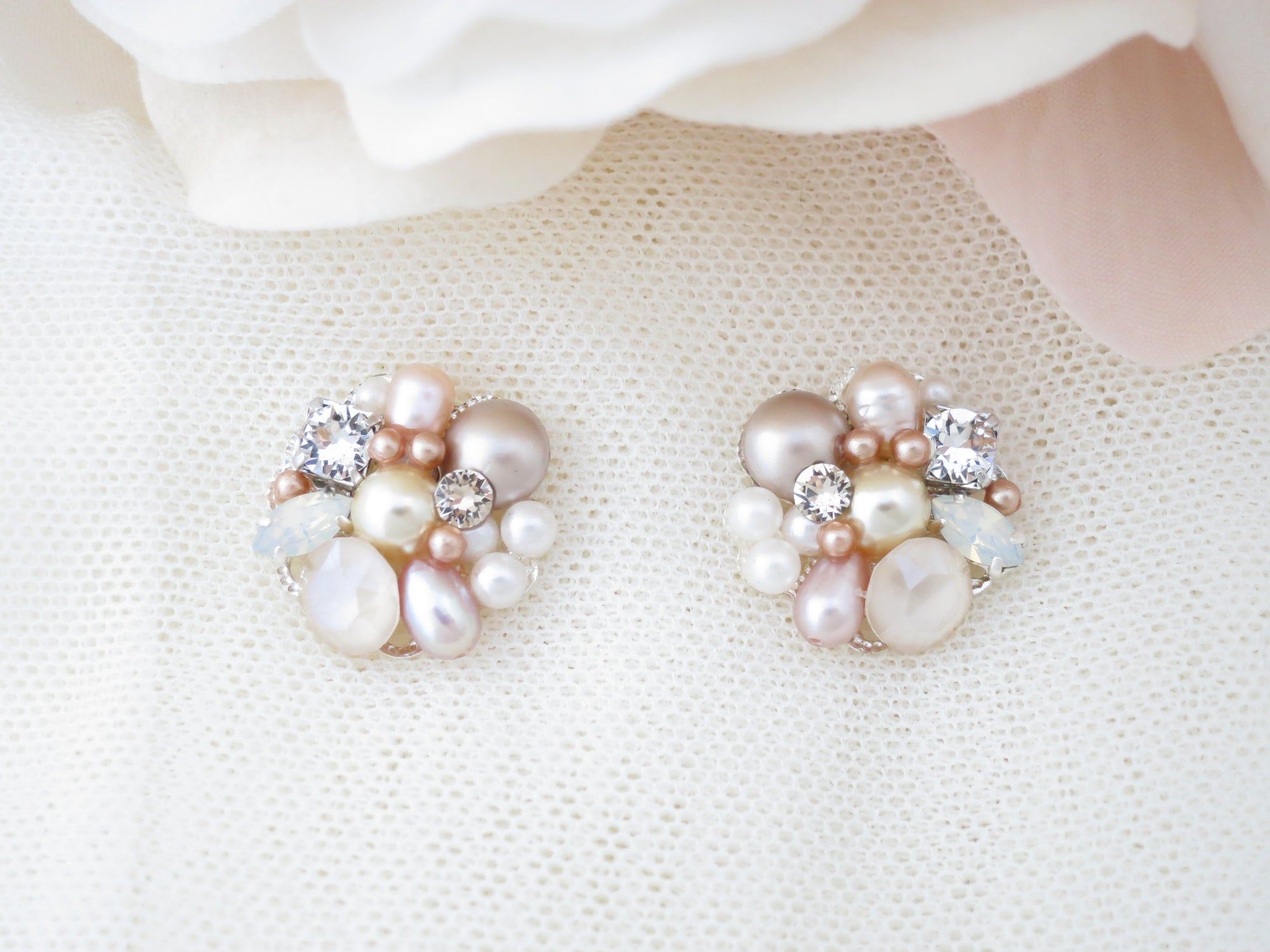 TRIS:  Blush Pearl Bridal Earrings - BlingBaddaBoom - Minimalist, Vintage, Modern Wedding and Bridal Jewelry