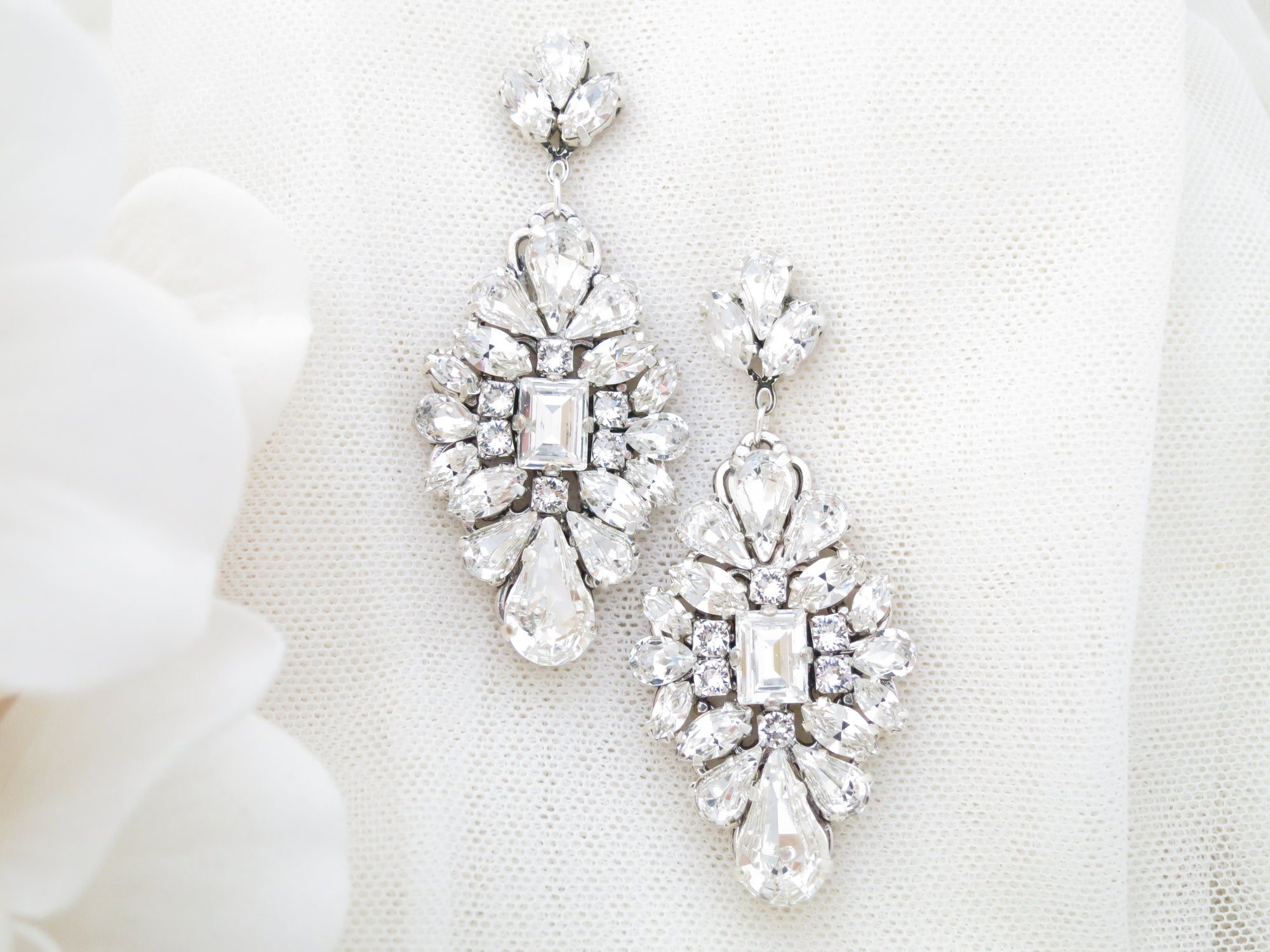 TEMPTRESS:  Glamorous Diamond Drop Earrings - BlingBaddaBoom - Minimalist, Vintage, Modern Wedding and Bridal Jewelry