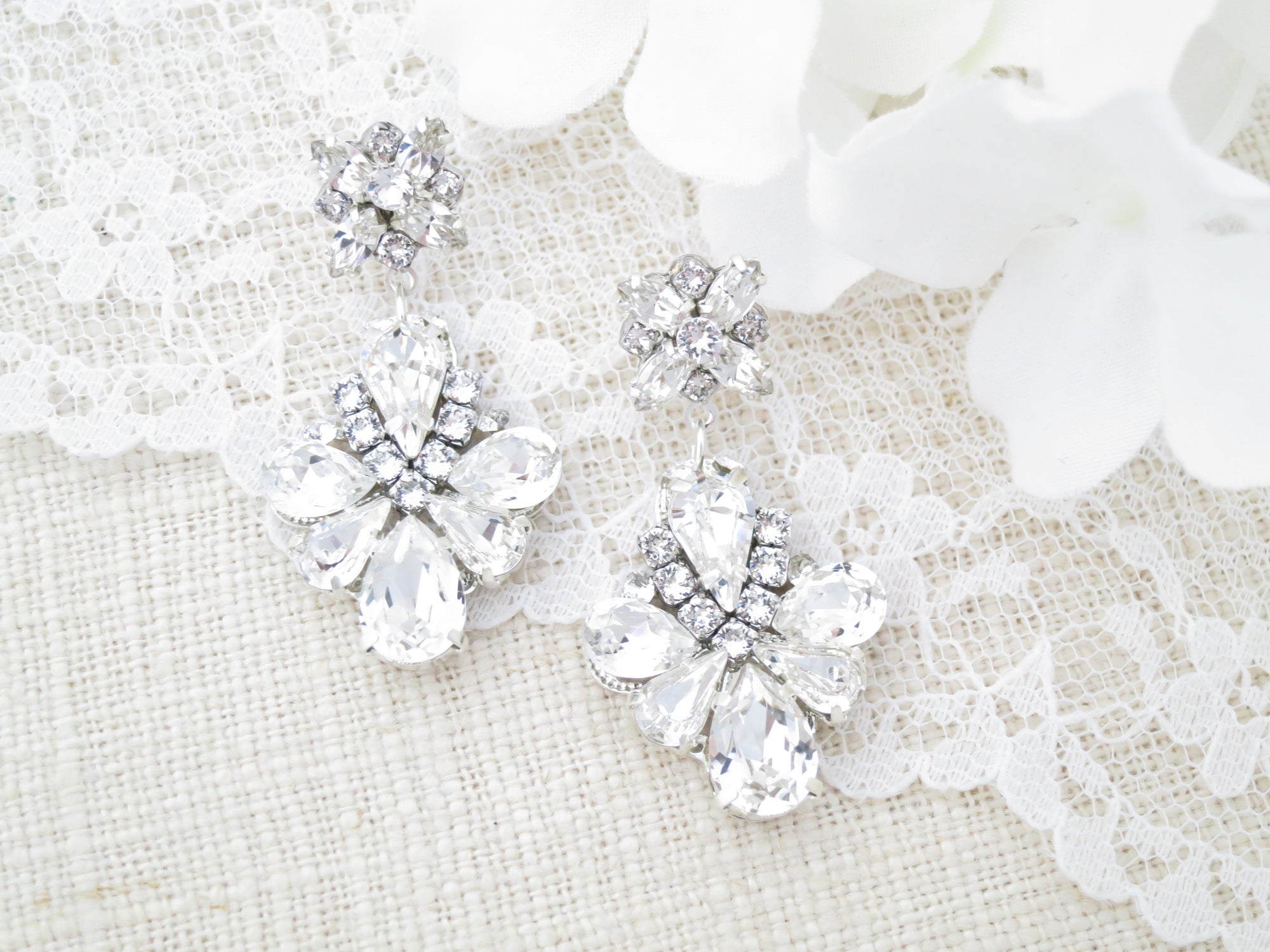 JULES:  Radiant Crystal Drop Earrings - BlingBaddaBoom - Minimalist, Vintage, Modern Wedding and Bridal Jewelry