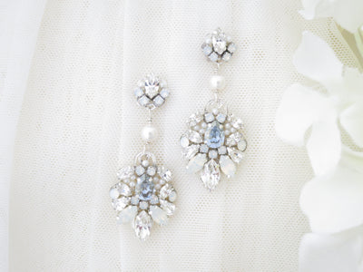 RUMOR: Hint of Blue Chandelier - BlingBaddaBoom - Minimalist, Vintage, Modern Wedding and Bridal Jewelry