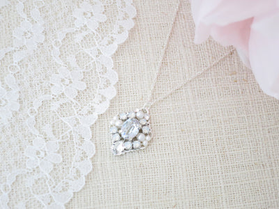 LILA: Swarovski Blue Crystal Necklace - BlingBaddaBoom - Minimalist, Vintage, Modern Wedding and Bridal Jewelry