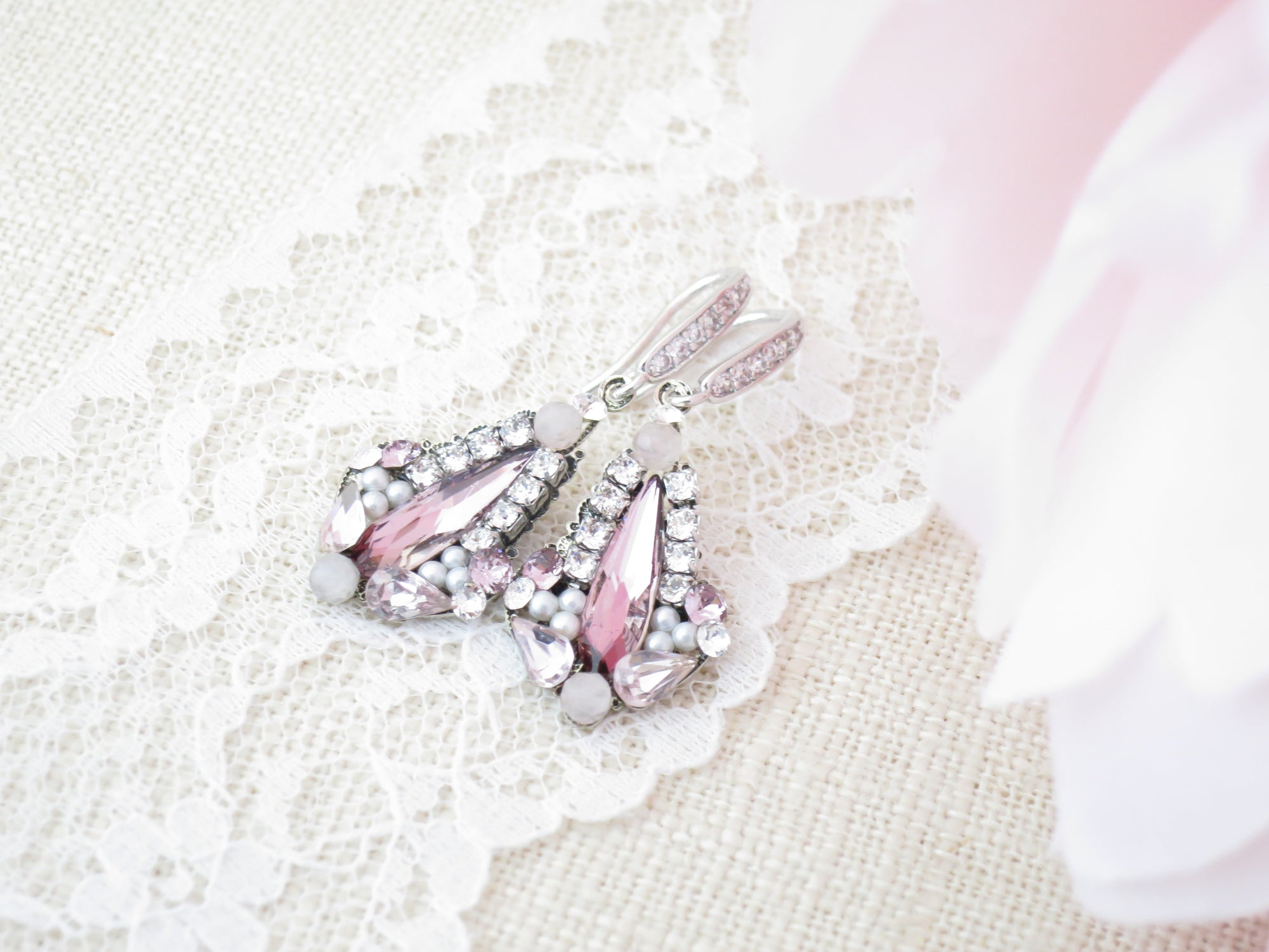 ROSE:  Antique Pink Dangle Earrings - BlingBaddaBoom - Minimalist, Vintage, Modern Wedding and Bridal Jewelry