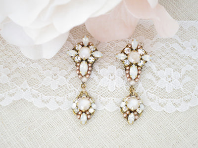 JASMINE:  Unique Blush and Gold Bridal Earrings - BlingBaddaBoom - Minimalist, Vintage, Modern Wedding and Bridal Jewelry