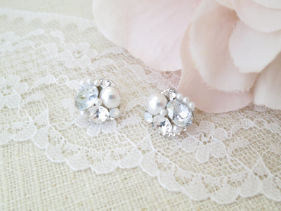 SAVANNAH:  Dusty Blue Button Earrings - BlingBaddaBoom - Minimalist, Vintage, Modern Wedding and Bridal Jewelry