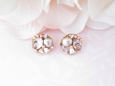 POPPY: Blush Pink Button Earrings - BlingBaddaBoom - Minimalist, Vintage, Modern Wedding and Bridal Jewelry