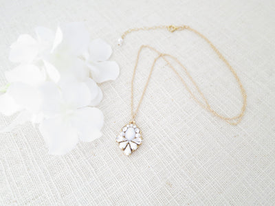 CAMILLE:  White Teardrop Bridal Necklace - BlingBaddaBoom - Minimalist, Vintage, Modern Wedding and Bridal Jewelry