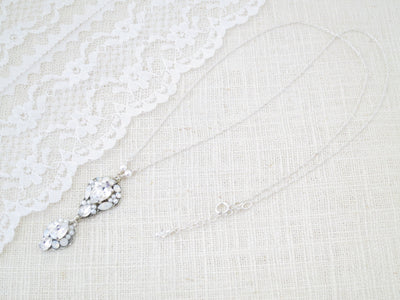 LOGAN:  Swarovski Crystal Pendant Necklace - BlingBaddaBoom - Minimalist, Vintage, Modern Wedding and Bridal Jewelry