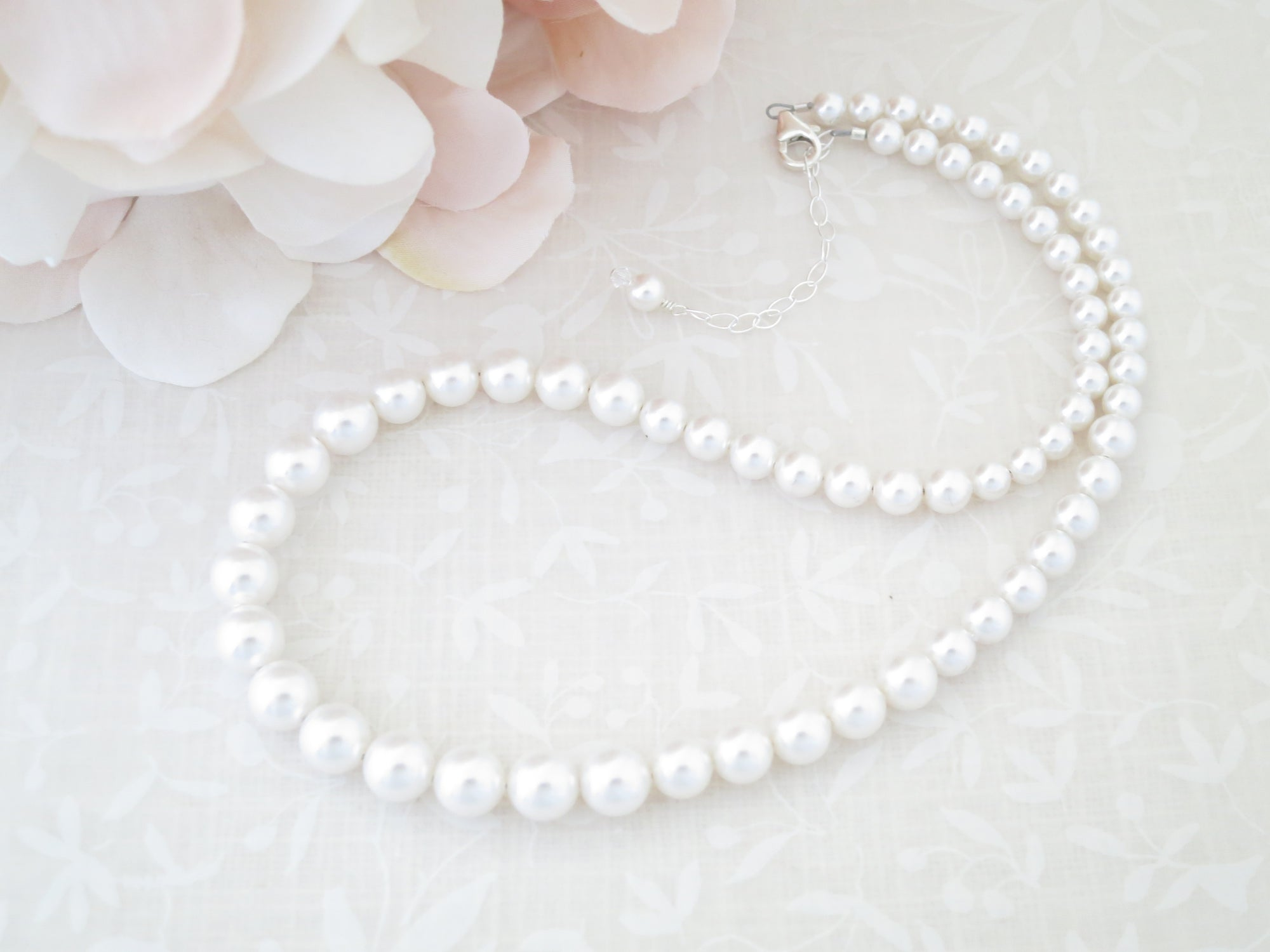 FEY:  Classic Pearl Bridal Necklace - BlingBaddaBoom - Minimalist, Vintage, Modern Wedding and Bridal Jewelry
