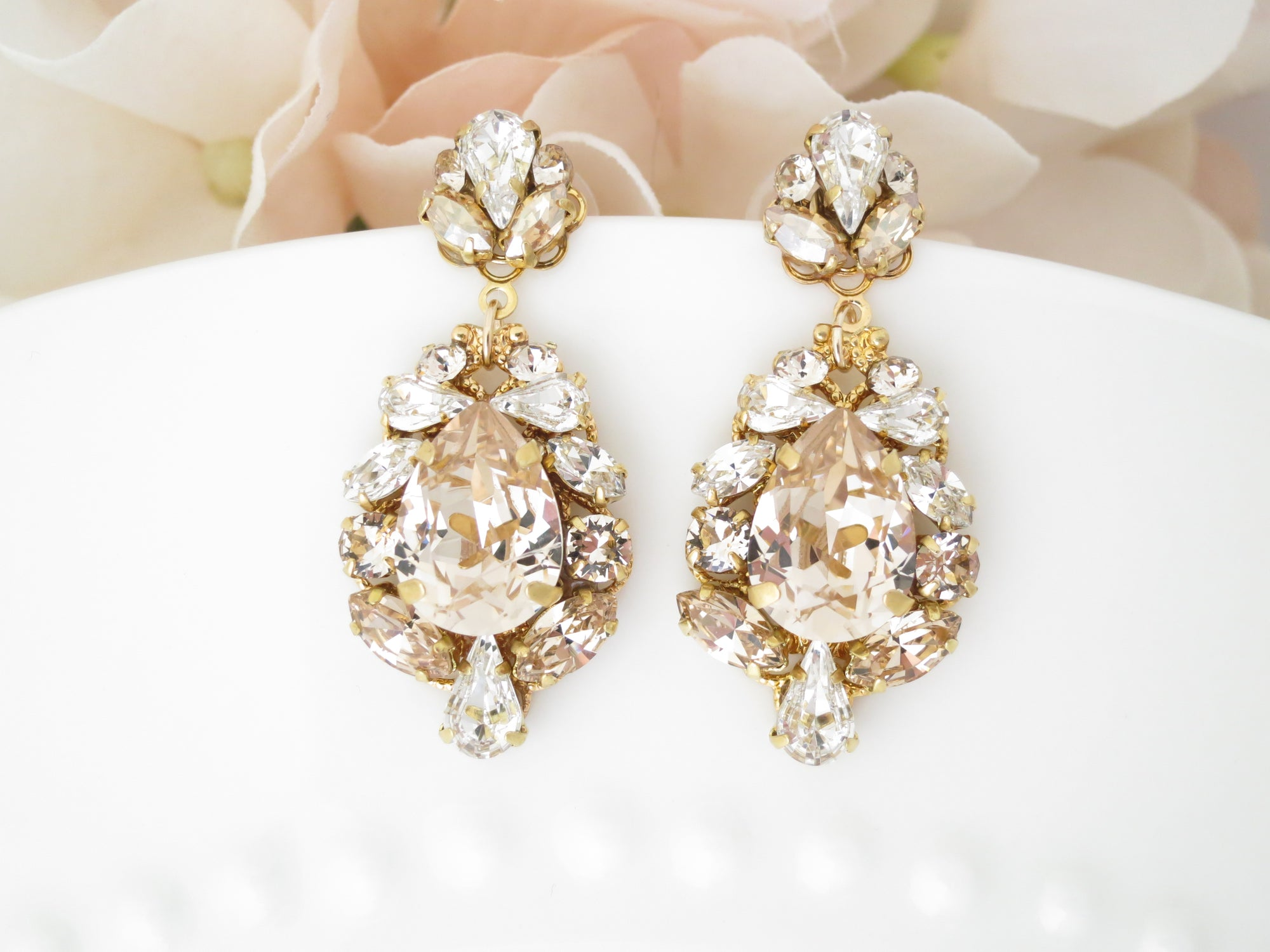 HAMPTON:  Champagne Teardrop Wedding Earrings - BlingBaddaBoom - Minimalist, Vintage, Modern Wedding and Bridal Jewelry