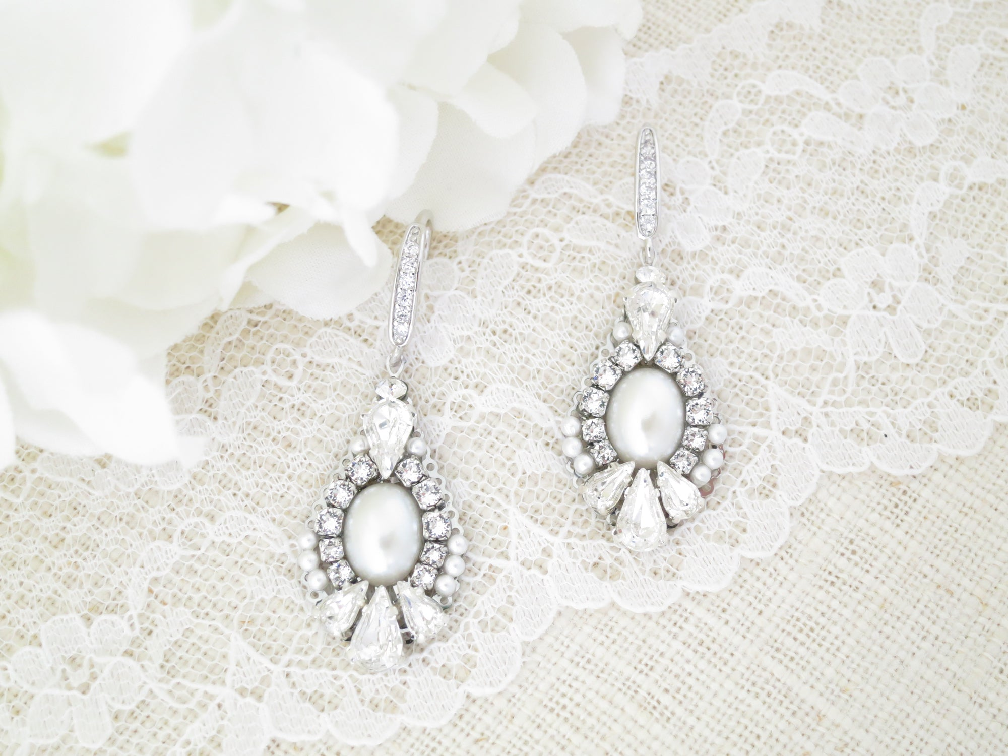 GWYNETH:  Vintage Teardrop Bridal Earrings - BlingBaddaBoom - Minimalist, Vintage, Modern Wedding and Bridal Jewelry