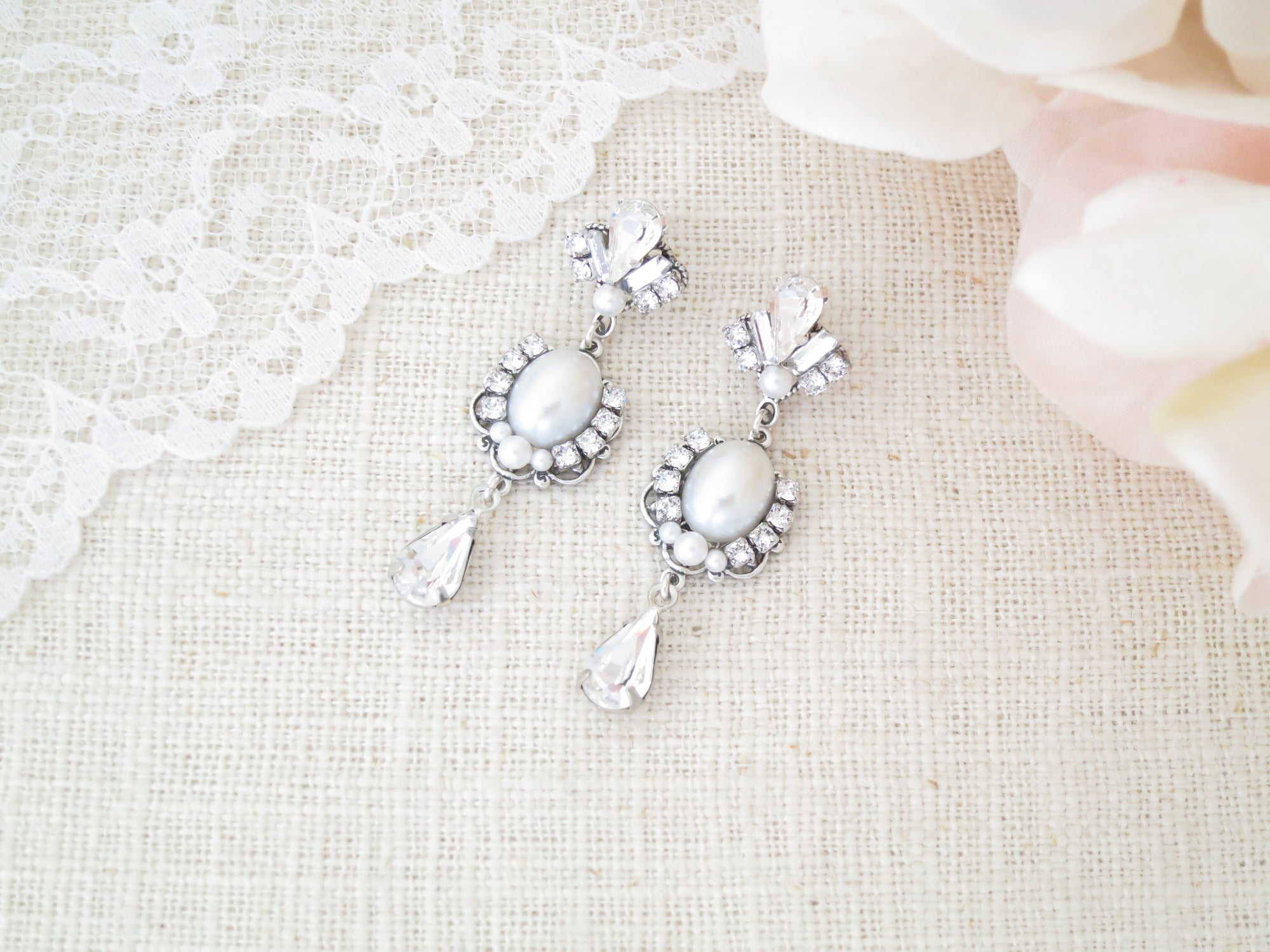 ADELE:  Vintage Pearl Wedding Earrings - BlingBaddaBoom - Minimalist, Vintage, Modern Wedding and Bridal Jewelry