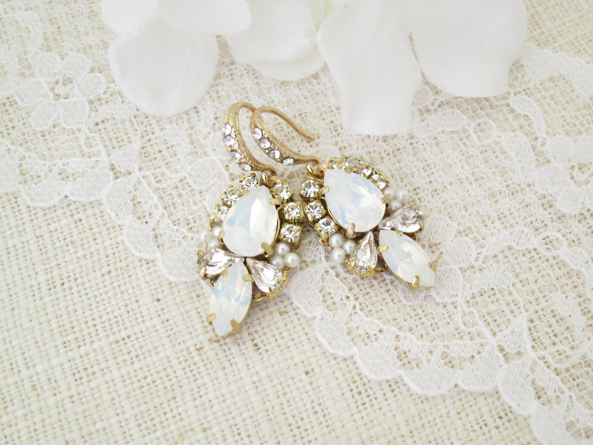 DESTINY:  Opal Bridal Earrings - BlingBaddaBoom - Minimalist, Vintage, Modern Wedding and Bridal Jewelry
