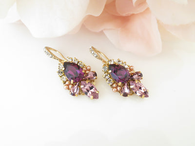IRIS:  Amethyst Wedding Earrings - BlingBaddaBoom - Minimalist, Vintage, Modern Wedding and Bridal Jewelry