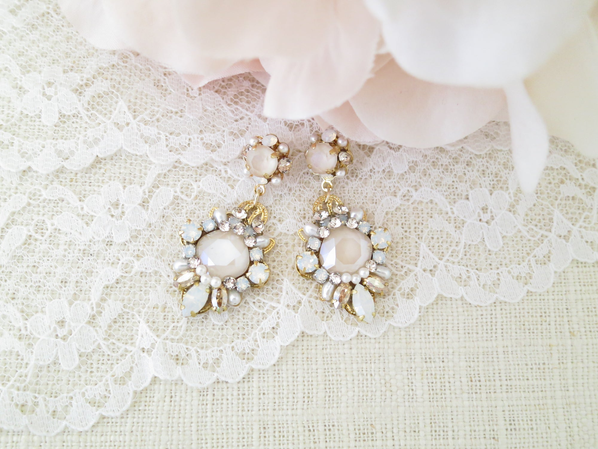 LAYLA:  Ivory Blush Bridal Earrings - BlingBaddaBoom - Minimalist, Vintage, Modern Wedding and Bridal Jewelry
