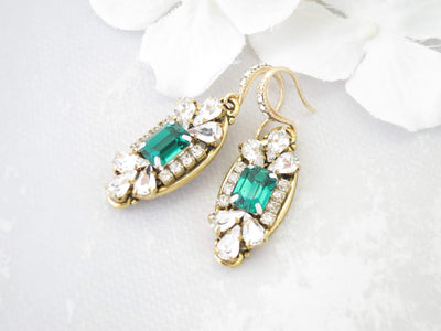 JADE:  Gold Art Deco Bridal Earrings - BlingBaddaBoom - Minimalist, Vintage, Modern Wedding and Bridal Jewelry