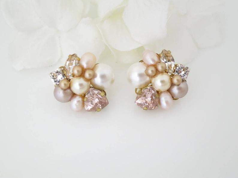 CALLIE:  Blush Asymmetrical Bridal Earrings - BlingBaddaBoom - Minimalist, Vintage, Modern Wedding and Bridal Jewelry