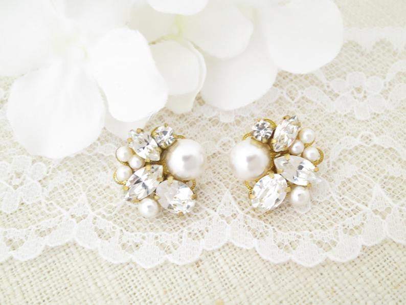 VALERIE:  Vintage Style Cluster Stud Earrings - BlingBaddaBoom - Minimalist, Vintage, Modern Wedding and Bridal Jewelry