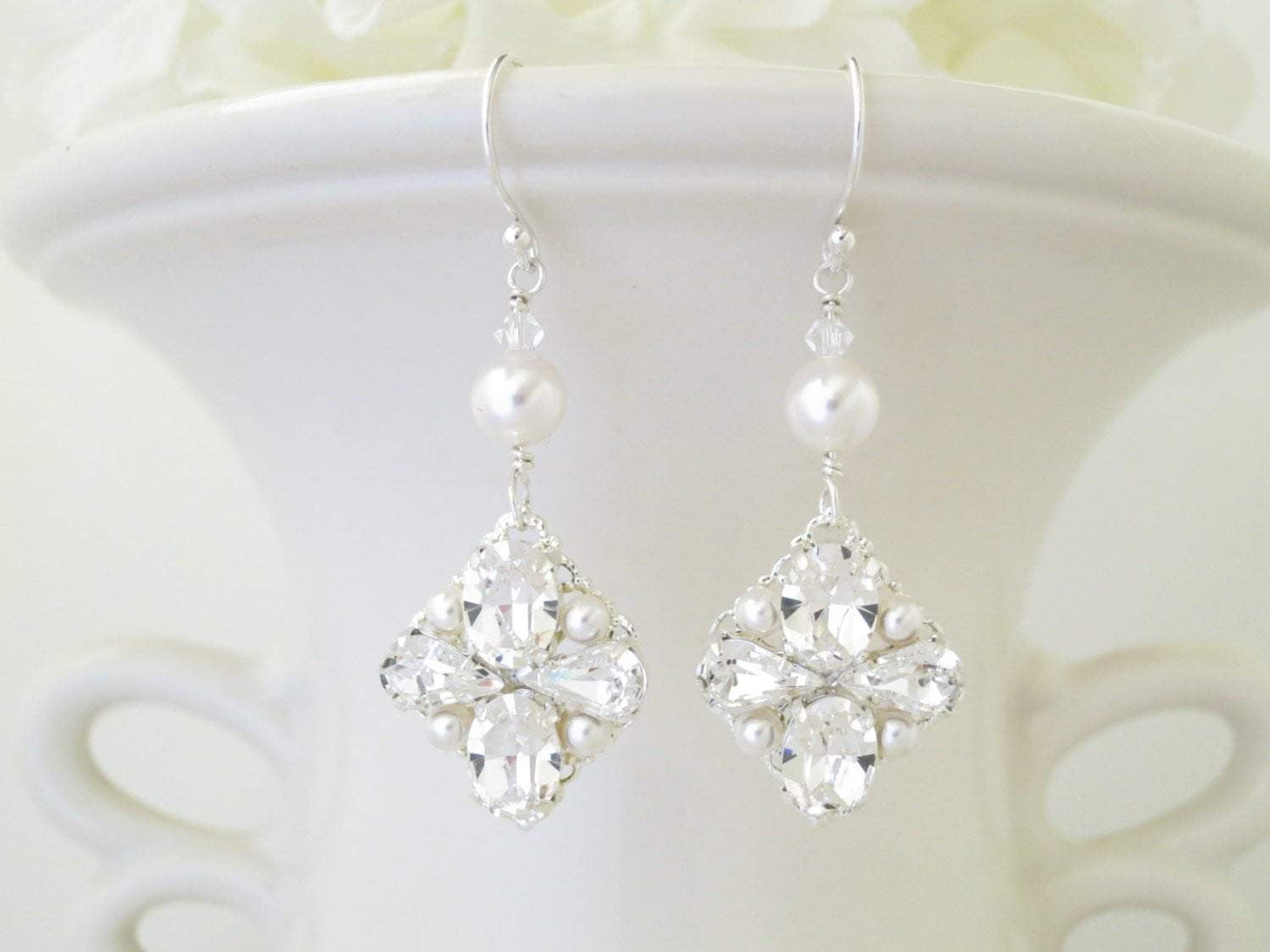 JILLIAN:  Traditional Rhinestone and Pearl Bridal Earrings - BlingBaddaBoom - Minimalist, Vintage, Modern Wedding and Bridal Jewelry